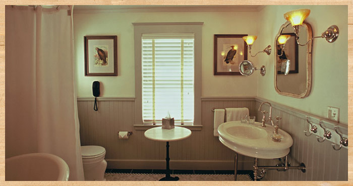 the bath in Al's Cottage at Nick's Cove in Tomales, California