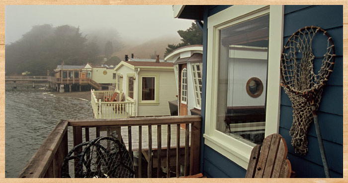 View of other cottages from the deck of Big Rock Cottage at Nick's Cove on Tomalas Bay just north of San Francisco