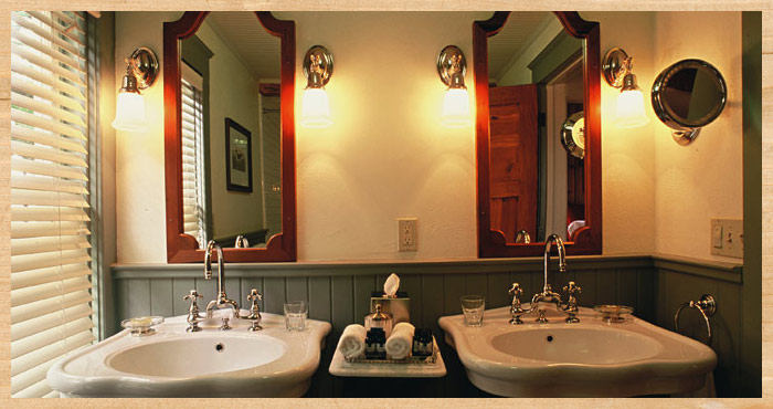 Twin sinks inside Heart's Desire Cottage at Nick's Cove