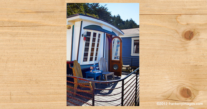 The deck of the Nicolina waterfront cottage at Nick's Cove on Tomalas Bay just north of San Francisco