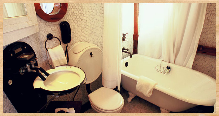 the bathroom in the Nicolina waterfront cottage at Nick's Cove on Tomalas Bay just north of San Francisco