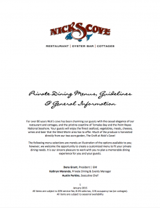 Nicks Cove Private Dining Guidelines