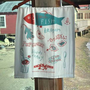 nicks cove fish tea towel